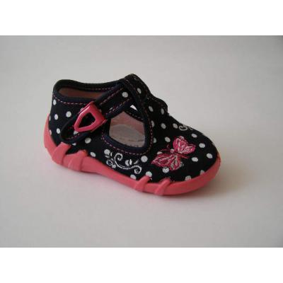 Detské papučky tmavé bodkované s motýlikom