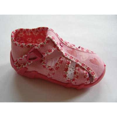 Detské papučky ružové so srdciami