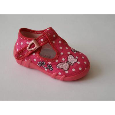 Detské papučky červené bodkované s motýlikom