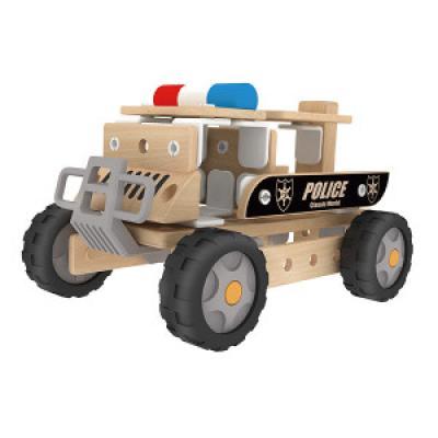 Policajné drevené auto 2 v 1