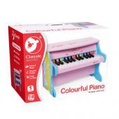 Exkluzívny farebný drevený klavír vhodný pre deti od veku 3 rokov.  Tento  drevený detský klavír je nielen krásna hračka, ale aj funkčný  klavír,  ktorý ma 25 kláves a vydáva krásne a čisté zvuky. Napomáha v  dieťaťu  objaviť a zveľadiť hudobný potenciál. Klavír bude zábavou pre  celú  rodinu. Rozmery hračky (cm)                                                      40 x 25 x 30                                            Rozmery balenia (cm)                          44,5 x 30 x 34                                            Vek                          od 3 rokov                                            Materiál                          čajovníkové drevo, preglejkové jemné opracované drevo                                            Počet dielov                          1