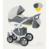 """Štvorkolesový detský kombinovaný kočík Camarelo X Sirion je novinkou pre rok 2017 od značky Camarelo. Možnosť nasadenia autosedačky na konštrukciu. Hlboká vanička detského kočíka Camarelo X Sirion je vhodná od prvých dní života dieťatka do 6 mesiacov, následne športovú časť kočíka môžete používať od 6 mesiacov do 3 rokov.    Detský kočík Camarelo X Sirion v sebe spája bezpečnosť, priestor (čo zabezpečuje najväčšia vanička na trhu), jednoduchú manipuláciu, moderný dizajn prispôsobovaný moderným trendom a bohatú výbavu.  Charakteristika:  Konštrukcia:  - detský kočík má ľahkú alumíniovú konštrukciu - po zložení je konštrukcia veľmi kompaktná a skladná - na konštrukciu je možné veľmi jednoducho nacvaknúť detskú autosedačku - polohovanie rukoväte - ergonomický tvarovaná centrálna brzda - konštrukcia s možnosťou viacstupňovej úpravy tvrdosti - detský kočík má zosilnené odpruženie - praktický anti-shock systém - rukoväť je potiahnutá vysoko kvalitnou umelou kožou s jemnými detailmi - otočné predné kolesá s možnosťou aretácie (uzamknutie otáčania a jazda rovno) - praktický objemný kôš na nákupy  Kolesá:  - všetky 4 kolesá sú ložiskové, nafukovacie - predné kolesá otočné o 360° s možnosťou aretácie - predné kolesá sú 10"""", zadné kolesá sú 12""""  Hlboká vanička:  - veľmi priestranná, najväčšia vanička na trhu - vanička má veľmi praktické odvetrávanie, čo zabezpečí ešte väčšie pohodlie pre bábätko - možnosť nastavenia chrbátika, aby malo dieťatko rozhľad už v hlbokej vaničke - hlboká vanička sa na konštrukciu detského kočíka veľmi jednoducho a zároveň spoľahlivo pripevňuje - možnosť pripevnenia v smere i proti smeru jazdy - vanička má výklopný šiltík, ktorý bude Vaše dieťatko chrániť pred nepriaznivým počasím - veľmi jednoduché nastavenie striešky u hlbokej vaničky s možnosťou úplného sklopenia - odopínateľná strieška na zips - praktické vetracie okienko pre správnu ventiláciu vzduchu - hlboká vanička je podšitá látkou zo 100% bavlny - praktický úchyt, ktorý zjednodušuje prenáša"""