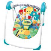 Popis produktu   Skladacia hojdačka Safari Smile od Bright Starts je vyrobená tak, aby šetrila Váš čas a priestor. Dokážete ju zbaliť veľmi rýchlo.  - vhodné pre deti od narodenia až do 9 kg - technológia WhisperQuiet™ zaisťuje tichý chod hojdačky - systém ComfortRecline™ ponúka polohovanie celého sedadla, udržuje telíčko dieťaťa po celú dobu v najpohodlnejšej pozícii - obsahuje odnímateľnú hraciu hrazdičku pre ľahší prístup k dieťatku - TrueSpeed™ technológia udržuje 6 rýchlostí hojdačky. Zaisťuje konzistentnú a spoľahlivú rýchlosť pre rastúce deti. Systém automaticky rospozná váhu dieťaťa a prispôsobí tomu rýchlosť pohybu hojdačky. - päťbodový bezpečnostný pás - prenosná konštrukcia hojdačky - odnímateľný poťah pre ľahšie čistenie - protišmykové hrany, jednoduché skladanie - hojdačka vyžaduje použitie 4 C batérií, ktoré nie sú súčasťou balenia  Rozmery produktu: (Š x V x D): 57,15 cm x 58,42 cm x 72,39 cm