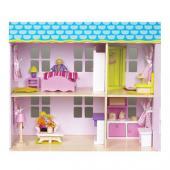 Krásny domček pre bábiky je snom každého dievčatka. Drevený štýlový dom pre bábiky, vhodný pre deti od veku 3 rokov. Plne  zariadený domček, ktorý poteší každé dieťa. Všetky miestností sú  zariadené a vybavené aj doplnkami ako sú napríklad kuchynské spotrebiče,  skrinky, nábytok, lampy, záclony. Rozmery hračky (cm)                                                      56 x 29 x 56                                            Rozmery balenia (cm)                          60 x 16 x 47                                            Vek                          od 3 rokov                                            Materiál                          preglejkové jemné opracované drevo s čajovníkovým drevom                                            Počet dielov                          27