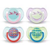6-18 mesiacov • silikón • 0% BPA • ochranný kryt  Ortodontická symetrická stlačiteľná silikónová násoska s odvzdušňovacím otvorom a jeho dokonalá symetria zaisťujú prirodzený vývoj zubov a ďasien – aj keď sa cumlík v ústach vášho dieťaťa otočí. Môžu prísť okamihy, kedy vôbec nič nedokáže ukľudniť vaše nepokojné dieťa. To sú chvíle, kedy môžu pomôcť cumlíky, ktoré vás tak zbavia pocitu bezmocnosti a znepokojenia. AVENT rozumie vaším starostiam, a preto vyrába cumlíky najvyššej kvality podľa najprísnejších bezpečnostných noriem (BS 5239:1988). Na rozdiel od neodvzdušnených cumlíkov sa cumlíky AVENT môžu sterilizovať parou. Každý cumlík má svoj ochranný kryt, aby bol pred použitím sterilný. Každý má tiež bezpečný guľatý krúžok. Predávajú sa v atraktívnom balení po dvoch kusoch. Cumlík je s tvarovaným kotúčom a veľkou násoskou.