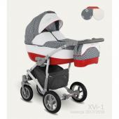 """Štvorkolesový detský kombinovaný kočík Camarelo X Vision je novinkou pre rok 2017 od značky Camarelo. Možnosť nasadenia autosedačky na konštrukciu. Hlboká vanička detského kočíka Camarelo X Vision je vhodná od prvých dní života dieťatka do 6 mesiacov, následne športovú časť kočíka môžete používať od 6 mesiacov do 3 rokov.   Detský kočík Camarelo X Vision v sebe spája bezpečnosť, priestor (čo zabezpečuje najväčšia vanička na trhu), jednoduchú manipuláciu, moderný dizajn prispôsobovaný moderným trendom a bohatú výbavu.  Charakteristika:  Konštrukcia:  - detský kočík má ľahkú alumíniovú konštrukciu - po zložení je konštrukcia veľmi kompaktná a skladná - na konštrukciu je možné veľmi jednoducho nacvaknúť detskú autosedačku - polohovanie rukoväte - ergonomický tvarovaná centrálna brzda - konštrukcia s možnosťou viacstupňovej úpravy tvrdosti - detský kočík má zosilnené odpruženie - praktický anti-shock systém - rukoväť je potiahnutá vysoko kvalitnou umelou kožou s jemnými detailmi - otočné predné kolesá s možnosťou aretácie (uzamknutie otáčania a jazda rovno) - praktický objemný kôš na nákupy  Kolesá:  - všetky 4 kolesá sú ložiskové, nafukovacie - predné kolesá otočné o 360° s možnosťou aretácie - predné kolesá sú 10"""", zadné kolesá sú 12""""  Hlboká vanička:  - veľmi priestranná, najväčšia vanička na trhu - vanička má veľmi praktické odvetrávanie, čo zabezpečí ešte väčšie pohodlie pre bábätko - možnosť nastavenia chrbátika, aby malo dieťatko rozhľad už v hlbokej vaničke - hlboká vanička sa na konštrukciu detského kočíka veľmi jednoducho a zároveň spoľahlivo pripevňuje - možnosť pripevnenia v smere i proti smeru jazdy - vanička má výklopný šiltík, ktorý bude Vaše dieťatko chrániť pred nepriaznivým počasím - veľmi jednoduché nastavenie striešky u hlbokej vaničky s možnosťou úplného sklopenia - odopínateľná strieška na zips - praktické vetracie okienko pre správnu ventiláciu vzduchu - hlboká vanička je podšitá látkou zo 100% bavlny - praktický úchyt, ktorý zjednodušuje prenášan"""