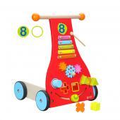 """Detská interaktívna hračka, ktorá obsahuje xylofón s kladivkom,  triedičku tvarov, rotujúce ozubené kolieska a odkladací priestor na  prevoz hračiek. Drevená detská interaktívna hračka vhodná pred deti od veku 1 roka.  Hračka obsahuje xylofón s kladivkom, triedičku tvarov, rotujúce ozubené  kolieska a skladový priestor na odvoz hračiek. Kolieska sú pogumované a  napomáhajú príjemnému odvalovaniu sa. Chodítko učí dieťa zdokonalovať sa  pri chôdzi. Okrem iného si dieťa berie so sebou aj """"zábavnú  multifunkčnú hračku"""". Rozmery hračky (cm)                                                      34 x 34 x 47                                            Rozmery balenia (cm)                          49 x 15 x 18,5                                            Vek                          13 – 1 rok                                            Materiál                          preglejkové a čajovníkové drevo                                            Počet dielov                          6"""