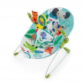 Zábava na prvom mieste! Toto farebné a hravé lehátko udrží dieťatko v pohodlí s rúčkami plnými zábavy. Lehátko Jungle Stream™ od Bright Starts™ je skrášlené žiarivými farbami a hravými postavičkami, ktoré bude dieťatko milovať. Mäkká, pohodlná, ale správne podporná sedacia časť rozmaznáva dieťatko. Upokojujúce vibrácie a interaktívne hračky udržia dieťatko v kľude, no zároveň pobavene. Hrazdičku je možné odstrániť jednou rukou, takže prístup k tomu najväčšiemu pokladu je bezproblémový.  - jemné vibrovanie pre upokojenie dieťatka - hrazdička s 3 hračkami jednoducho odnímateľná jednou rukou pre ľahký prístup k dieťatku - lehátko je vhodné pre detičky od narodenia do 9 kg - lehátko vyžaduje 1 C (LR 14) batériu, ktorá nie je súčasťou balenia - nastaviteľné 3-bodové pásy pre bezpečnosť dieťatka - protišmykové nožičky - poťah lehátka je možné prať v práčke  Rozmery produktu: 48 cm x 53 cm x 42 cm