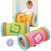 Detský valec na lezenie  Nafukovací valec povzbudzuje dieťa hrať sa  S mäkkým látkovým poťahom a nafukovací vnútorný valec Snímateľný a prateľný poťah Vnútri hrkajúce guličky Veľkosť: 24 cm Šírka: 45 cm Vhodný pre deti 6+ mesiacov