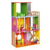 Mať krásny dom s bazénom je snom každého dieťaťa, a navyše je dom aj s nábytkom a s priehľadnou prednou stenou Moderný dom pre bábiky vhodné pre deti od veku 3 rokov. Štýlový, moderný  dom pre bábiky okrem iného obsahuje bazén, hraciu izbu a garáž. Dom je  vybavený modernými prvkami. Je zaujímavo riešený. Skladá sa zo 70 častí. Rozmery hračky (cm)                                                      45 x 23 x 75                                            Rozmery balenia (cm)                          63 x 11 x 45                                            Vek                          od 3 rokov                                            Materiál                          preglejkové jemné opracované drevo s čajovníkovým drevom                                            Počet dielov                          70