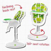 Určená pre deti od 6 mesiacov.     Šesť pozícií otočenia o 360 ° k stolu na kŕmenie.     Jednoduché nasvavenie výšky, 3 polohy sklopenia opierky chrbta, Super kompaktná základňa.     Nastaviteľná, umývateľná     Vyberateľný pultík, takže dieťa môže s Vami jesť priamo pri stole     Podložku možné celú vybrať a oprať  Najvyššia pozícia sedadla: 62 cm Najnižšia poloha sedadla: 45 cm Najvyššia poloha tácky: 79 cm Najnižšia poloha tácky: 62 cm Hmotnosť: 14,8 kg