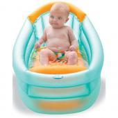3 Polohová nafukovacia vanička, exkluzívne vyrobená s ohľadom na potrebu pohodlia a bezpečnosti dieťatka už od narodenia. Vybavená prepážkou, ktorá zabráni možnému skĺznutiu dieťatka. Objem:30 litrov Rozmery: 80,5x52x42 cm