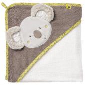 Měkoučký ručník s motivem koaly s kapucí je praktickým  pomocníkem po každé koupeli s Vaším děťátkem. Díky praktické kapuci je  citlivá hlavička děťátka, která je zejména po koupeli náchylná na  zchlazení, neustále chráněna. Praktické poutko využijete na zavěšení  ručníku. Roztomilá koala se určitě stane nerozlučným společníkem Vašeho  děťátka po každodenní rutině koupání. Neutrální barevné provedení je  vhodné jak pro chlapečka, tak pro holčičku. Roztomilý detail v podobě  lemu se vzorem malých mravenců si získá pozornost každého malého  zlatíčka. Velikost: cca 80 x 80 cm Péče: Možné prát v pračce na 60° C