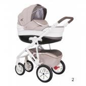 Vo výbave kočíka je:    - odľahčená konštrukcia - 4 nafukovacie kolesá - hlboká vanička s nánožníkom - športová sedačka s nánožníkom - nákupný košík - veľká a priestranná taška na kočík - pláštenka - sieťka proti hmyzu    Možnosť dokúpiť - doplnkový tovar :    - autosedačka (vajíčko), adaptér je v cene autosedačky.  - adaptéry pre Maxi-Cosi Pebble a CabrioFix    Popis:    Veľká vanička s plastovým odvetraným dnom a nastaviteľným operadlom, dĺžka. 85 cm. Hlboká verzia vhodná od prvých dní života. Športová verzia vhodná pre deti od 6 mesiacov do 3 rokov (15 kg). Čalúnenie z vysokokvalitnej ekokože, ľahko sa čistí. Interiér kočíka je vyrobený z mäkkého materiálu - kvalitnej bavlny vo vaničke - pre väčšie pohodlie bábätka. Nánožník vaničky má golier so schopnosťou zdvihnúť a pripnúť k strieške, ktorý chráni dieťa pred vetrom a dažďom. Nastaviteľná rukoväť z eko-kože. 6 tlmičov: mäkké odpruženie sa výborne prispôsobí nerovnostiam terénu a zaisťujú pohodlné vozenie. Nafukovacie kolesá s ložiskami. Elegantná, ľahká a odolná hliníková konštrukcia. Blokácia predných kolies. Praktický, uzavretý nákupný košík s poklopom z eko-kože. Možnosť dokúpenia autosedačky (vajíčka). Kočík je vyrobený v súlade s európskou bezpečnostnou normou EN 1888 Látky, ktoré boli použité zodpovedajú Öko - Tex Standard 100 Vhodný od 0-36 mesiacov    Konštrukcia kočíka:    - odľahčená konštrukcia so systémom jednoduchého skladania kočíka, - ložiskové nafukovacie kolesá - kočík je dobre odpružený, čo zaisťuje pohodlnú jazdu - možnosť upevnenia vaničiek v i proti smeru jazdy - centrálna brzda - otočné predné kolesá s možnosťou aretácie pre rovnú jazdu a pre jazdu v nerovnostiach - výškovo nastaviteľná rukoväť potiahnutá ekokožou - ľahké skladanie a rozkladanie konštrukcie - malé rozmery po zložení - veľký a priestranný nákupný kôš    Hlboká vanička:    - nánožník, ktorý ochráni Vaše bábätko pred nepriaznivým počasím - možnosť prenášanie za madlo v strieške - nastaviteľná opierka hlavičky - pohodlný matra