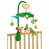 Zábavný hudobný kolotoč s jednoduchým uchytením na postieľku alebo ohrádku. So zábavnými hračkami, ktoré rotujú pri zvuku hudby.