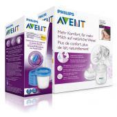 Odsávačka materského. ml. Natural      neobsahuje Bisphenol (0%BPA)     ľahká manipulácia     mlieko odsávané priamo do zásobníka AVENT     extra mäkký novorodenecký cumlík Natural     materiál: PP (polypropylén)  Vaše materské mlieko je odsávané priamo do zásobníka AVENT, z ktorého po pripojení cumlíka môžete nakŕmiť vaše dieťa. Obsah:      manuálna odsávačka s krytom hrdla     1x Fľaša Natural 125ml     tesniace viečko     + DARČEK: balenie VIA pohárikov s vrchnákmi 180 ml 5 ks v cene 7,95 EUR.  Odsávačka materského mlieka AVENT natural Vám pomôže ľahko odsať  mlieko z prsníka priamo do zásobníkov AVENT alebo do VIA pohárikov na  uskladnenie v chladničke alebo v mrazničke. Tak je možné, aby ktokoľvek  nakŕmil Vaše dieťa materským mliekom počas Vašej neprítomnosti. AVENT  odsávačka mlieka Natural je všeobecne obľúbená medzi mamičkami i  zdravotníckym personálom všade na svete, kde našli zaľúbenie v jej  revolučnom dizajne. Odsávanie mlieka odsávačkou AVENT Natural je  jemnejšie, kľudnejšie a efektívnejšie než ostatnými bežne dostupnými  odsávačkami. Odsávačka pracuje rýchlo, jemne a ticho, bez potreby elektriny alebo batérií. V nedávnych klinických testoch boli porovnávané priamo mamičkami v  pôrodniciach elektrické odsávačky s odsávačkou AVENT. Porovnávalo sa  podľa úľavy po použití, podľa veľkosti podtlaku a podľa celkového  pohodia pri odsávaní. Na konci pokusu, keď si mamičky mohli vybrať medzi  elektrickou odsávačkou a odsávačkou, dalo 64% mamičiek prednosť  odsávačke AVENT. Tajomstvo úspechu je v kombinácii silikónovej masážnej vložky s  výstupkami v tvare okvetného lístka so silikónovou membránou, ktoré  spoločne počas odsávania navodzujú podobné pocity ako pri dojčení. Mäkká silikónová vložka s masážnymi výstupkami zaisťuje masáž  prsníkov. Keď stláčate páku odsávačky, výstupky sa pohybujú hore a dole a  jemne masírujú dvorec bradavky. Masáž prsníka zaisťuje bezbolestné a  prirodzené odsávanie materského mlieka. Silikónová membrána 100% zaručuje potrebný tl