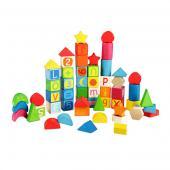 Náučné stavebnicové bloky. Vhodné pre deti od veku 1 roka. Stavebnica  obsahuje kocky, mesiačiky, štvorce, a ďalšie. Inteligentné kocky sú  plnofarebné a jednotlivé bloky obsahujú písmená, číslice. A dajú sa  vytvárať slová a násobilka spojením kociek. Rozmery hračky (cm)                                                      20 x 21 x 3                                            Rozmery balenia (cm)                          15,7 x 15,7 x 15,7                                            Vek                          1 – 3 roky                                            Materiál                          čajovníkové drevo                                            Počet dielov                          56